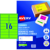 Avery High Visibility Shipping Laser Label L7162FG 199.1x34mm Fluoro Green Pack of 25 (400)