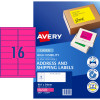 Avery High Visibility Shipping Laser Label L7162FP  99.1x34mm Fluro Pink 400 Labels 25 Sheet