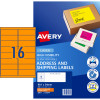 Avery High Visibility Shipping Laser Label L7162FO 99.1x34mm Fluro Orange 400 Label 25Sheet