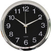 Italplast Wall Clock 30cm Round With Large Numbers Chrome Frame Black Face