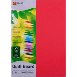 Quill Board A4 210gsm Red Pack of 50