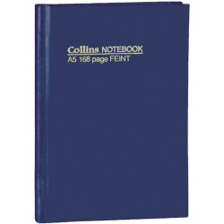 Collins No.5500 Notebooks Hard Cover A5 Feint Ruled 168 Page Blue