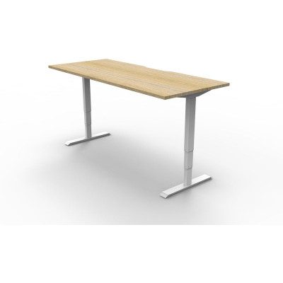Boost Electric Height Adjustable Desk 1500Wx750D Oak Top White Frame